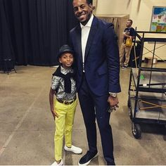 """Last night's hero, GSW @Andre Iguodala dressed in @mbastiannyc tuxedo. Check out his lil man as well. #style #morethanstats #NBAFINALS"""