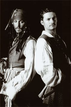 Johnny Depp and Orlando Bloom in Pirates of the Caribbean.