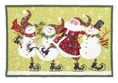 Christmas Dancing with Santa Hooked Rug - Susan Winget - Peking Handicraft
