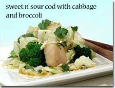 Sweet N' Sour Cod with Cabbage and Broccoli / 1/2 med onion 4 med cloves garlic 1 TBS chicken or veg broth broth 1 TBS minced fresh ginger 2 cups small broccoli florets 1 lb cod filet, cut into 1-inch pieces (use thick filets) 4 cups finely shredded green cabbage 2 TBS chopped fresh cilantro salt and white pepper to taste 1 TBS sesame seeds Sweet n' Sour Sauce 3 TBS soy sauce 1/4 cup rice vinegar 1/4 cup mirin rice wine 2 TBS chicken or vegetable broth 2 TBS honey salt and white pepper to…