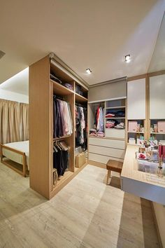 8 Ways to Squeeze a Walk-in Wardrobe in Your HDB Bedroom: For those who require more space for their vanity area, incorporate a floating table along the length of the closet against a mirrored wall. Wardrobe Design Bedroom, Master Bedroom Closet, Bedroom Wardrobe, Home Bedroom, Bedroom Decor, Bedroom Furniture, Wardrobe Wall, Bedroom Ideas, Bedroom Designs