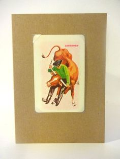 A6 Kraft card with envelopeHandmade and featuring an original vintage playing cardOnly 3 available