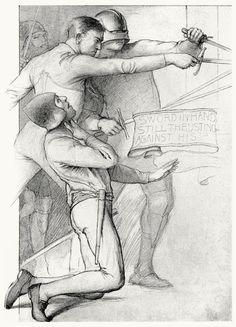 Sword in hand still thrusting.  Edwin Howland Blashfield, from Masques of cupid, by  Evangeline Wilbour Blashfield, New York, 1901.  (Source...