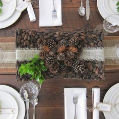 this is happiness: thankful tablescape {use reclaimed wood as your table runner.  add natural elements like pinecones and fresh greenery.  keep it simple with white plates}