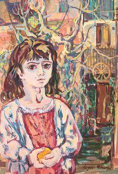 The Girl with an Orange - Ligia Macovei People Figures, Artist Biography, Art Database, Online Art, Find Art, Princess Zelda, Orange, Abstract, Artwork