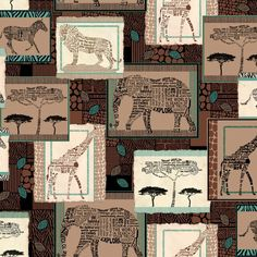 African Animal Print- Zebras- Elephants- Giraffes - Wisdom of the Plains Collection by Quilting Treasures - 100% Cotton Fabric by QuiltsOnTheFly on Etsy