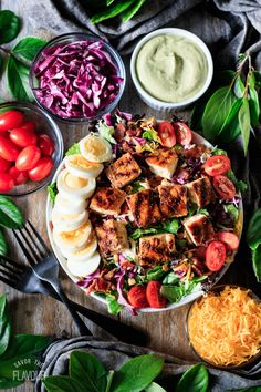 Copycat Chick-fil-A Cobb salad is a healthy DIY recipe that's meal prep and keto friendly. Learn how to make CFA's most popular salad in the convenience of your own home. This protein packed recipe includes the avocado lime ranch dressing and the brine and seasoning for the chicken. Real Food Recipes, Chicken Recipes, Healthy Recipes, Wing Recipes, Eat Healthy, Healthy Meals, Yummy Recipes, Dinner Recipes, Yummy Food