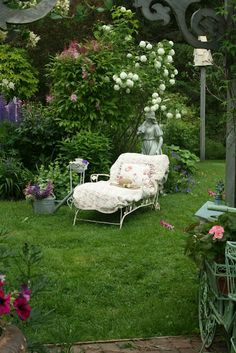 chaise in the garden
