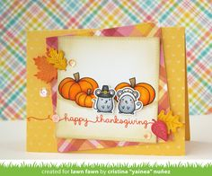 Lawn Fawn - Thankful Mice, So Thankful, Celebration Scripty Sayings, Small Stitched Leaves, Perfectly Plaid paper, Let's Polka in the Meadow paper _   card by Yainea for the Lawn Fawn blog: Lawn Fawn Intro: Celebration Scripty Sayings