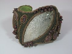 Silver Leaf Embroidered Cuff by christianvrodriguez on Etsy, $325.00