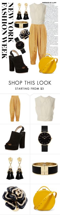 """""""Fashion week - black&yellow"""" by molleyc ❤ liked on Polyvore featuring Gucci, Chanel, Paul Andrew, CLUSE, Kenneth Cole and Nico Giani"""