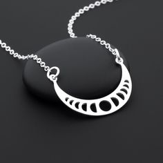 Moon Phase Necklace, Sterling Silver, Celestial Necklace, Moon Phase Jewelry, Silver Moon Necklace, Astronomy Jewelry, Lunar Necklace by BijouBright on Etsy https://www.etsy.com/uk/listing/237587519/moon-phase-necklace-sterling-silver