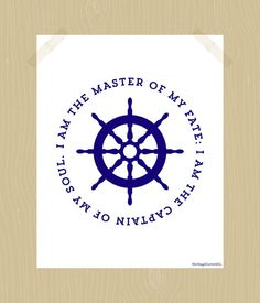 Hey, I found this really awesome Etsy listing at https://www.etsy.com/listing/158780112/nautical-print-i-am-the-master-of-my