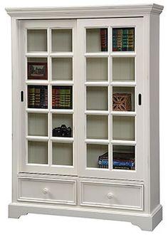 Pine Sliding Door Bookcase in Antique White