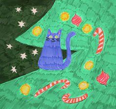 Christmas Night, Christmas Tree, Cat Climbing, Blue Cats, Cat Drawing, Textile Patterns, Cats And Kittens, Fine Art America, Photo Art