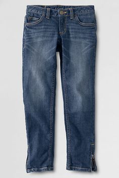 Girls' Denim 5-pocket Iron Knee® Hem Pencil Jeans from Lands' End - This is especially great for boys!