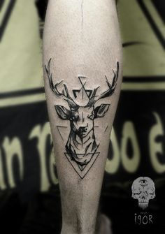 Stag / Deer tattoo with antlers - interesting ink style - insta: theyassassin