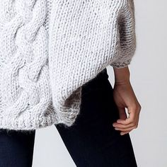 oversized cable sweater and leggings