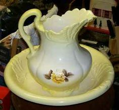 pitcher and basin set | Large Floral Ironstone Pitcher & Bowl Set