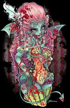 sexyPin ups, dark Art,Rockabilly : Photo Gothic Fantasy Art, Fantasy Artwork, Anime Manga, Anime Art, Rockabilly Art, Zombie Art, Goth Art, Vampire, Creepy Cute