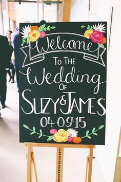 Welcome Sign Floral Illustrated Black Board Chalk Colourful Modern DIY Fun Wedding http://www.emmaboileau.co.uk/