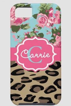Personalized Leopard and Rose Cell Phone Case- Design Your Own