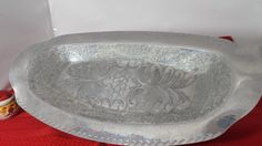 Aluminum Serving Tray Heavy Ornate Oval by TheTableSetting on Etsy