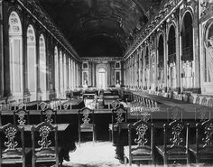 The Hall of Mirrors in the Palace of Versailles, where the Treaty of Versailles signalled the official end of hostilies after World War I, 1919.