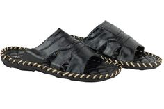 09ae5203d633 Mens Faux Leather Black Open Toe Slip on Sandals Summer Beach Holiday Mules  UK