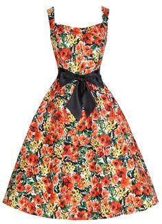 Lindy Bop 'Ellen' Fabulous Floral Print 50's Fit 'N' Flare Rockabilly Swing Dress: Amazon.co.uk: Clothing