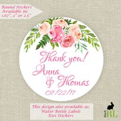 Wedding Favor Stickers - Thank You, Bridal, Baby Shower Pink Floral (12) 2.5 inch (20) 2 inch (24) 1.67 inch circle stickers - Favor Bag