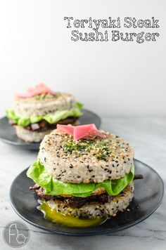 """Teriyaki Steak Sushi Burger (Recipe + Video)- Whether you are outraged or intrigued, you cannot deny that this Steak Sushi Burger is insanely delicious! Delicious Teriyaki Glazed steak strips inside perfectly seasoned Sushi Rice """"Buns"""" and topped with a glorious Egg. Everything you love about Sushi, but as a burger! So easy to make. CLICK to get the recipe. REPIN for later. #TheFlavorBender Sushi Taco, Sushi Burrito, Sushi Food, Teriyaki Chicken Sushi, Teriyaki Steak, Sushi Recipes, Asian Recipes, Cooking Recipes, Healthy Recipes"""