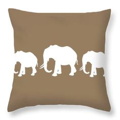 Decorative Elephant Row Throw Pillows,Cream Taupe Designer Cushion,Tan Accent Pillow, Coffee White Home Decor,Abstract Brown White Bedroom by HeatherJoyceMorrill on Etsy