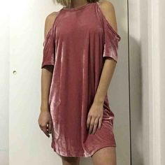 SOLDVelvet T-Shirt Dress Pink velvet cutout shoulder t shirt dress! It's like a dusty rose colorSupa cute! Brand new with tags purchased from Missguided Missguided Dresses
