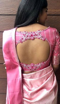 Back blouse designs for your stylish look are waiting for you. Get Glamorous with these stylish blouse designs. Blouse Designs High Neck, Fancy Blouse Designs, Wedding Saree Blouse Designs, Silk Saree Blouse Designs, Pattu Sarees Wedding, Stylish Blouse Design, Designer Blouse Patterns, Salwar Kameez, Work Blouse