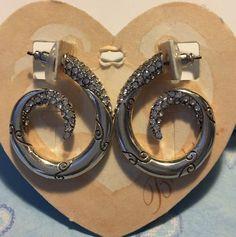 Brighton CRISTALINA Hoop Earrings Crystal Post NWT $58  | eBay