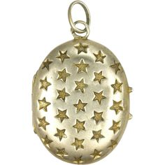 French Antique Silver with Gold Stars Locket Charm...