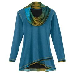 Cowl-Neck Crossover Tunic Top in Blue Watercolor Print for Women at Signals | HR2212