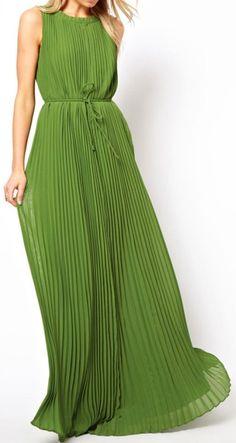 Chartreuse Pleated Maxi.  dresslily.com