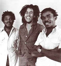 "Bob Marley with Aston ""Family Man"" Barrett and Carlton ""Carly"" Barrett"