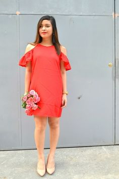 Life in the Fash Lane: Red and Pink With Zaful Tara Lynn, Red And Pink, Beautiful Outfits, Jewlery, Cold Shoulder Dress, Coral, Feminine, Tunic, Street Style