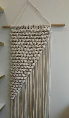 Unique and handmade macrame piece. Dimensions: 128 cm x 80 cm. Custom orders are accepted with Diy Cat Hammock, Crochet Wool, Macrame Knots, White Beige, House Decorations, Dreamcatchers, Creative Crafts, Handmade Art, Wall Hangings
