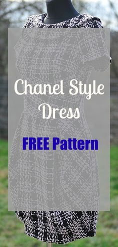 Chanel Style little black dress.  Free PDF Patterns in many sizes.  In Polish.  Use google translate.