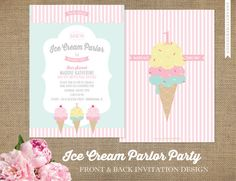 Ice Cream Parlor Invitations / Ice Cream Party / Birthday Party Invitations / Pink, Mint, Yellow / Any Color / Any Age / FAST FREE Shipping