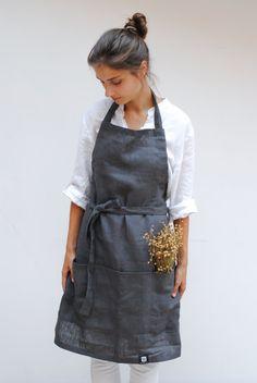 Waiter Uniform, Bbq Apron, Cute Aprons, Linen Apron, Apron Pockets, Kitchen Aprons, Apron Dress, Natural Linen, Long Sleeve Shirts