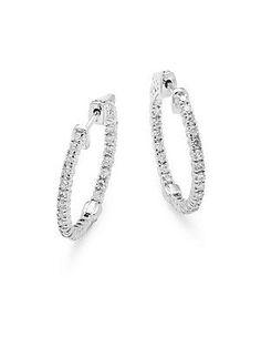14aaa033c Saks Fifth Avenue Diamond, Crystal & 18K White Gold Hoop Earrings- 1in