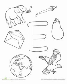 Preschool The Alphabet Letter E Worksheets: Coloring! E is for...