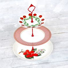 {Bing Cake Stand} Fresh Pastry Stand - love the red berries + gingham mix!