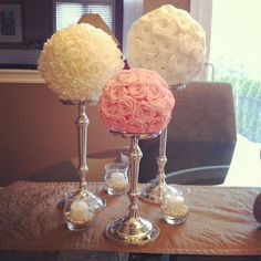 cheap wedding centerpieces ideas - Don't use a lot of flowers as table centerpieces for your reception. Flowers might be distracting for your guests many of the time. Paper Flower Centerpieces, Wedding Table Centerpieces, Paper Flowers, Wedding Decorations, Centerpiece Ideas, Diy Flowers, Candlestick Centerpiece, Flower Crafts, Decor Wedding