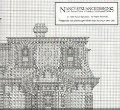 FULTON MANSION 02 Cross Stitch House, Cross Stitch Charts, Cross Stitch Patterns, Cross Stitching, Cross Stitch Embroidery, Hand Embroidery, Cross Stitch Numbers, Blackwork, Needlework